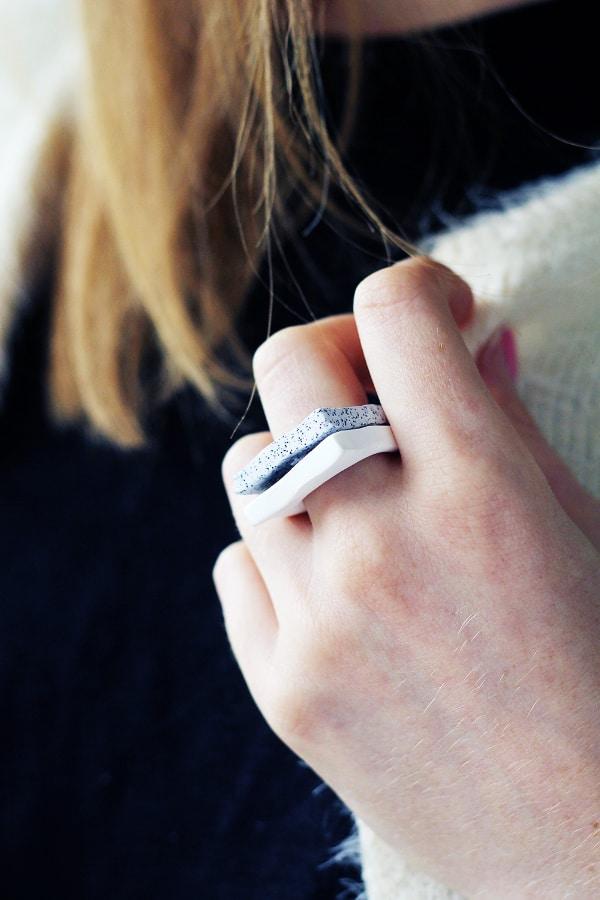 DIY Faux Granite Rings