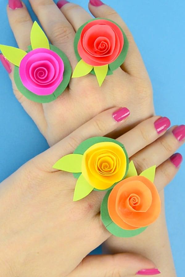 DIY Flower Paper Rings