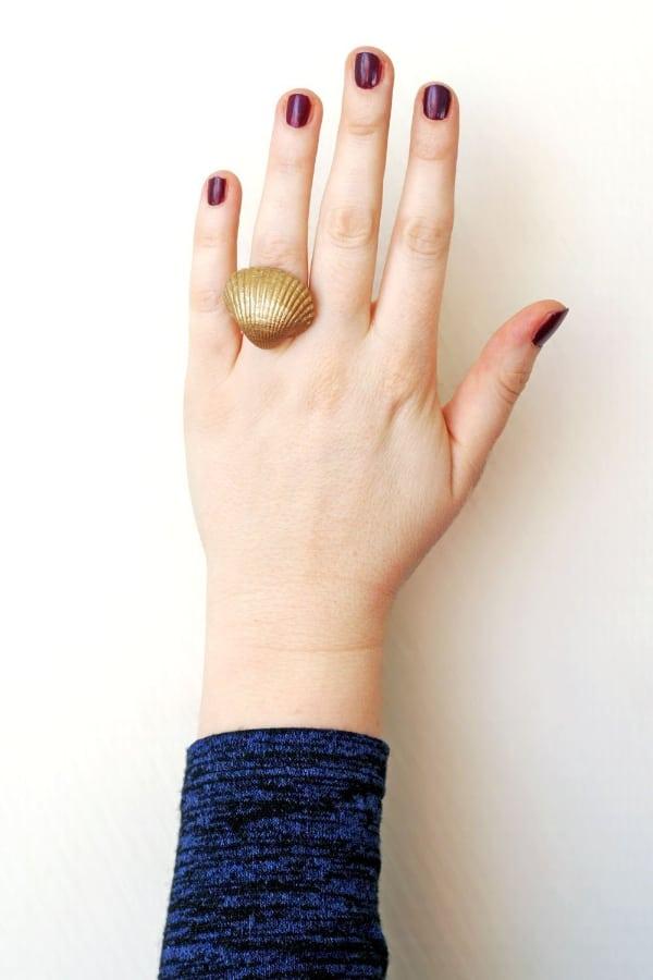 DIY Gold Shell Ring