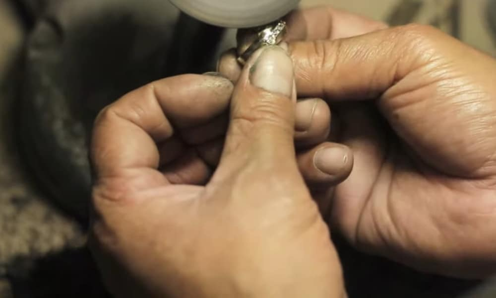 Get your white gold ring buffed or polished professionally