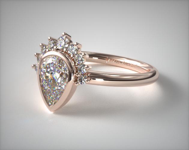 Bezel Tiara Engagement Ring – 14k