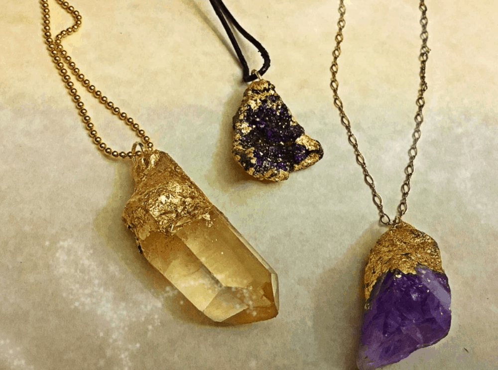 DIY Faux Gold- Dipped Crystal and Druzy Charms for Jewelry