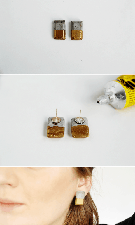 DIY Gold Dipped Concrete Earrings – Fall For DIY