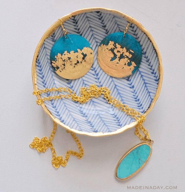 DIY Gold Gilded Earrings and Jewelry Bowl – Madeinaday.com