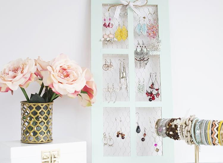 DIY Jewelry Holder with Chicken Wire Window Frame