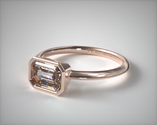 East-West Bezel Engagement Ring – 14k