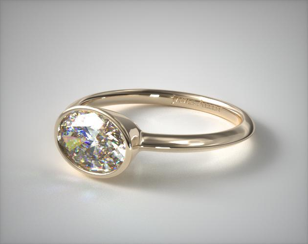 East-West Lab-Created Oval Bezel Engagement Ring