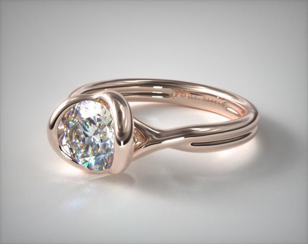 Half Bezel Knot Ring – 14k