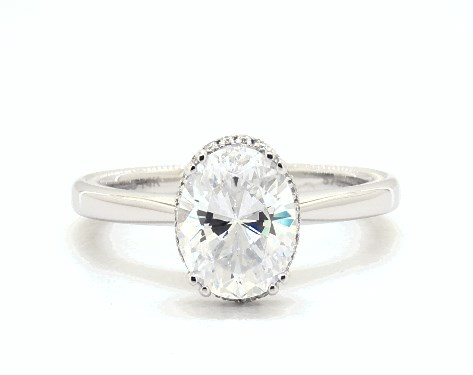 Hidden Halo Oval Solitaire Ring
