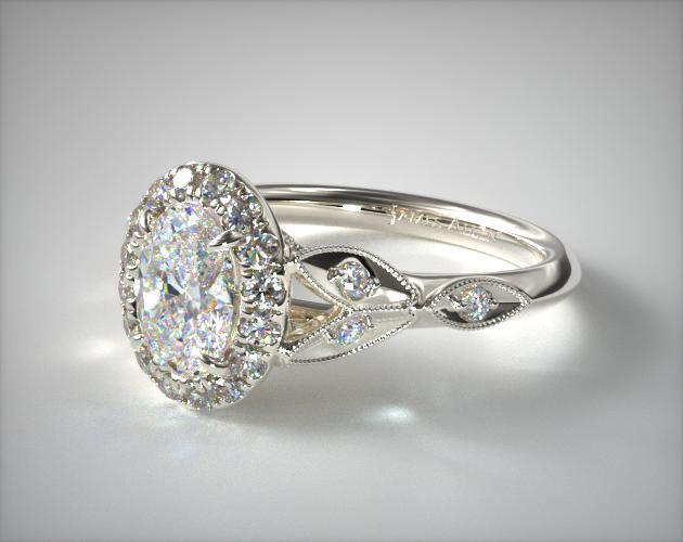 Navette Leaf Oval Engagement Rings