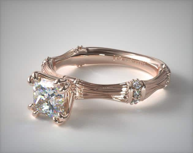Organic Bamboo Engagement Ring – 14k