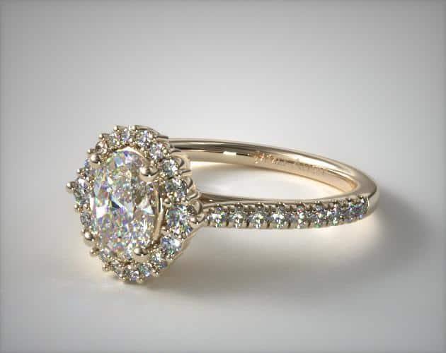 Oval-Cut J-VS2 Halo Diamond Ring