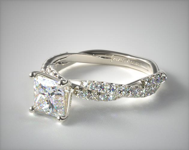 Pavé Twist Princess Cut Ring