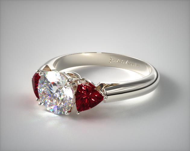 Platinum Three-Stone Trilliant Ruby Ring