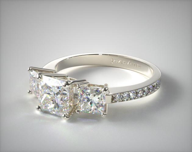 Platinum Trilogy Princess Cut Ring