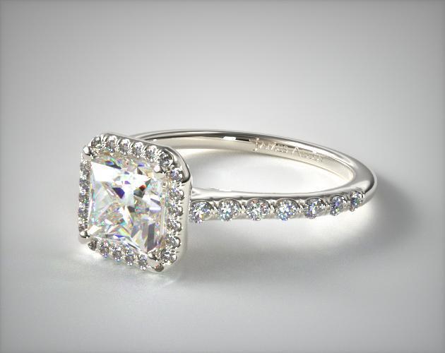 Princess-Cut Pavé Halo Ring