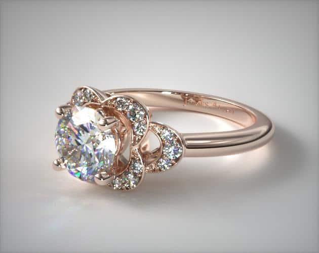 Rose Gold Art Deco Inspired Flower Ring