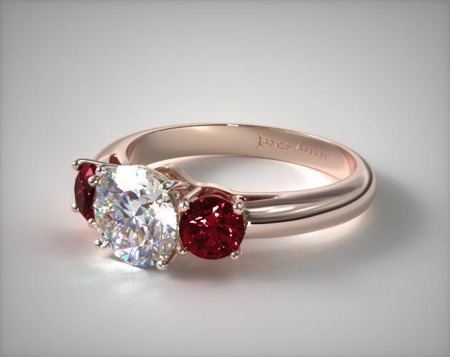 Rose Gold Round Ruby Ring