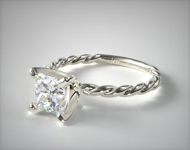 Solitaire Princess Cut Rope Ring