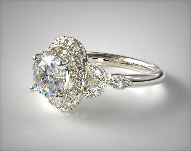 Swirling Oval Halo Ring