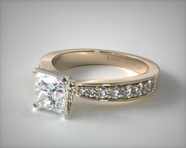 Tapered Pavé Princess Cut Ring