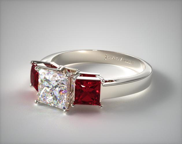 Three-Stone I-SI2 Diamond Ruby Ring