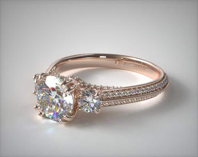 Three-Stone Pave Ring – 14k