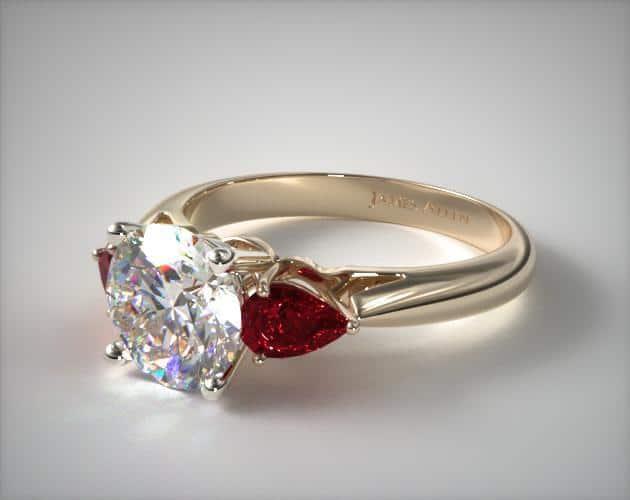 Three-Stone Pear Cut Ruby Ring