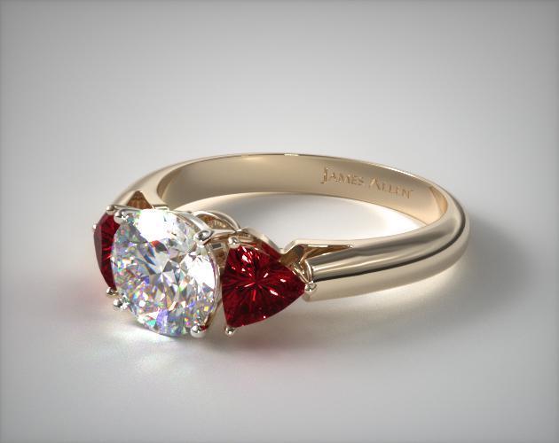 Three-Stone Trillion Ruby Engagement Ring