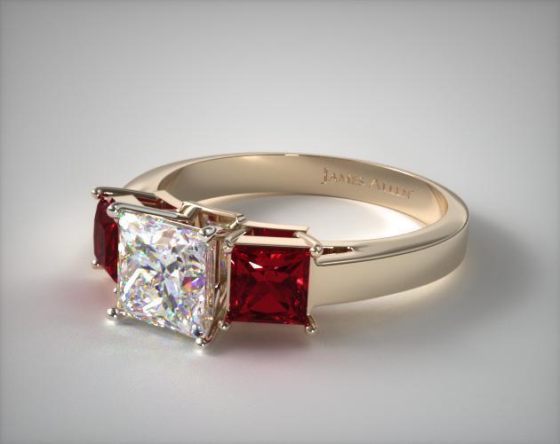 Three-Stone Yellow Gold Ruby Ring