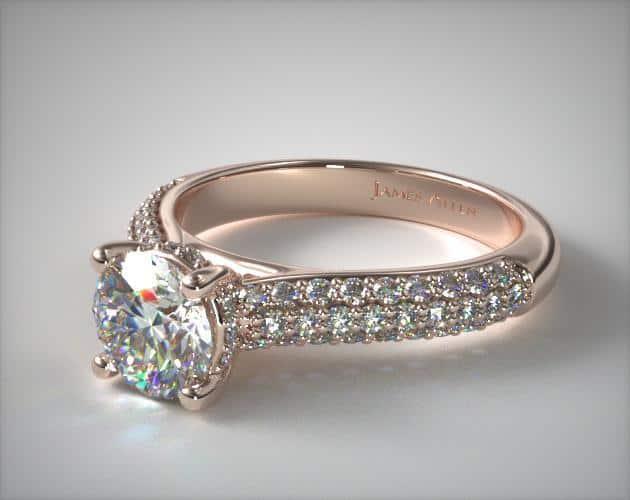 Triple Row Pavé Engagement Ring – 14k
