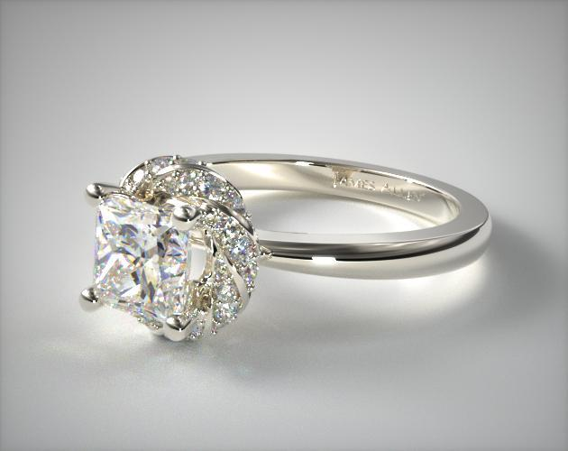 Twisted Pavé Halo Engagement Ring