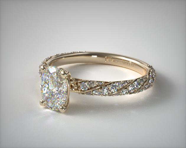 Twisted Pave Oval Engagement Ring