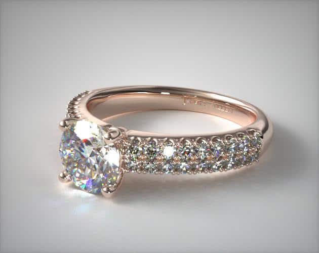Two-Row Pavé Engagement Ring – 14k