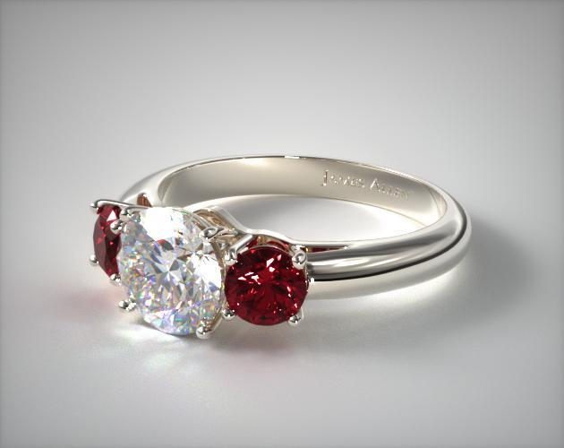 White Gold Airline Shank Ruby Ring