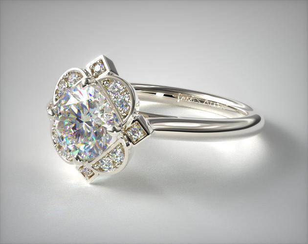 White Gold Flower Halo Art Deco Ring