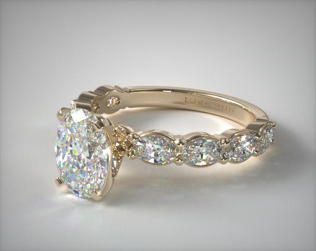 Yellow Gold East-West Oval Engagement Ring