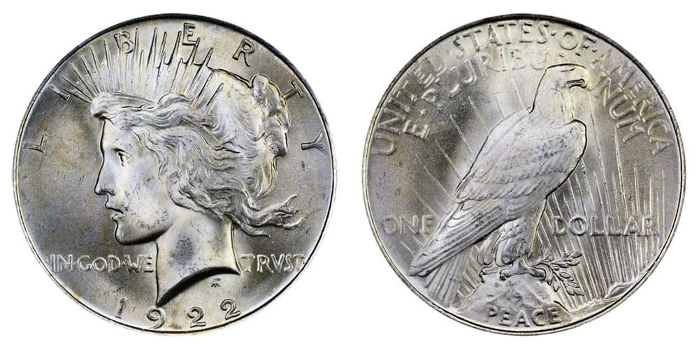 1922 Peace Silver Dollar (normal relief)