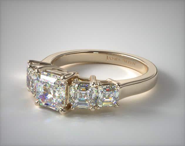 Asscher Side Stone Ring
