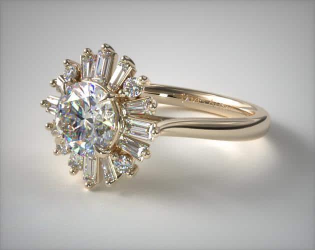 Baguette Ballerina Halo Ring