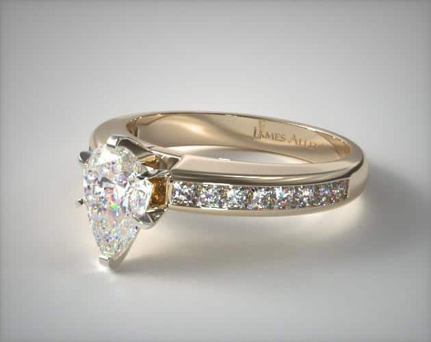 Channel Set Pear-Shaped Engagement Ring