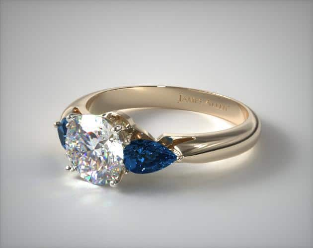 Coloured Pear Shaped Side Stone Ring