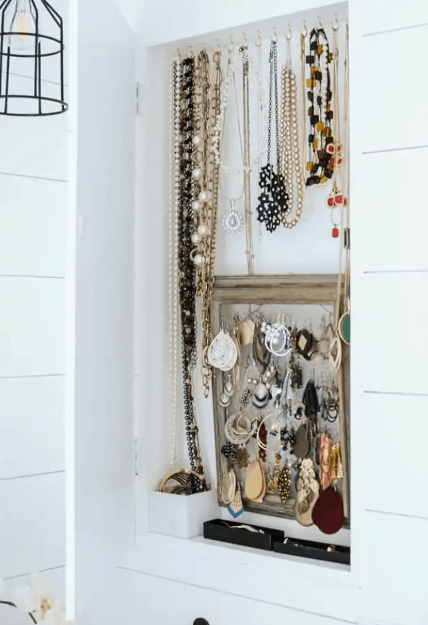 DIY Jewelry Cabinet (Recessed in the Wall and Hidden!) – Joyful Derivatives