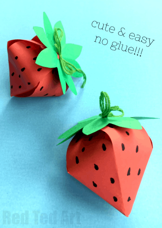 DIY Paper Box Strawberry – Red Ted Art