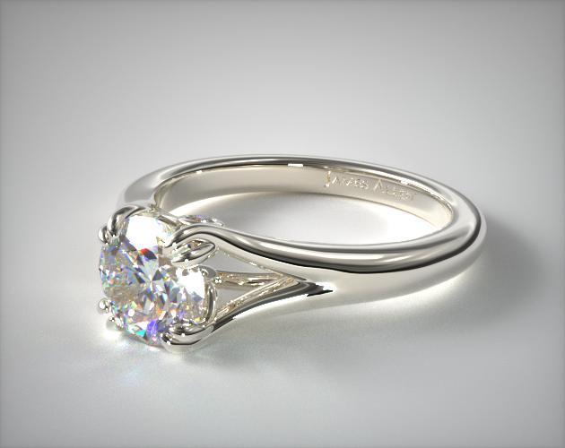 Double Claw Split Shank Platinum Ring