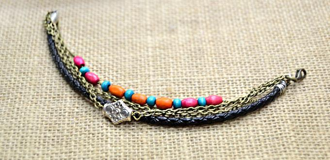 Making Cool Leather Bracelet of Boho Style with Chain and Wood Beads