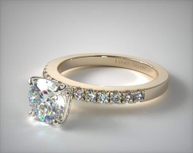 Micropave Yellow Gold Engagement Ring