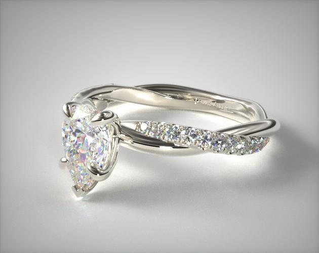 Pear-Shaped Pavé Rope Ring