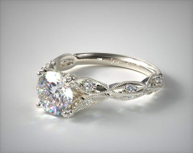 Platinum Milgrain Navette Engagement Ring
