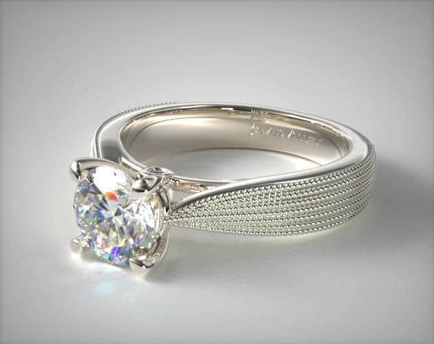 Platinum Reverse Milgrain Ring